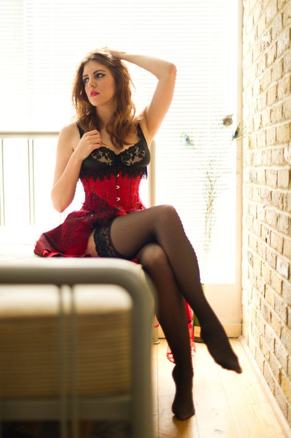 a8e28139fa17 Red Corset Valentine Dress Sexy Burlesque MADE TO by SarinaPoppy
