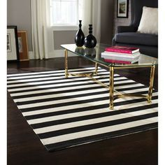 Home Trends Area Rug 4 Ft 11 In X 6 Ft 9 In Black White Stripe