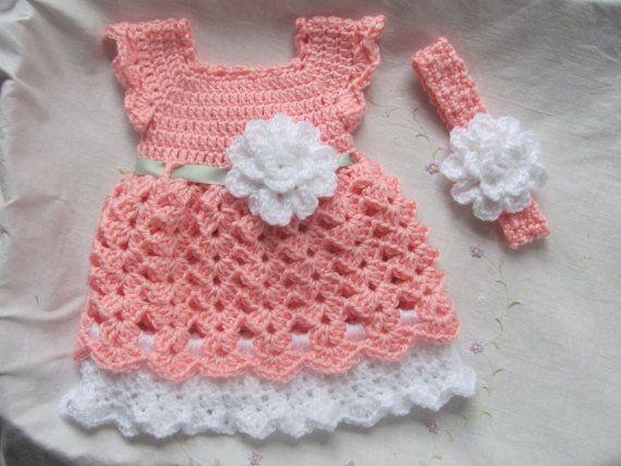 Newborn Baby Girl Dress & Headband Set ( Made to Order) Infant Dress ...