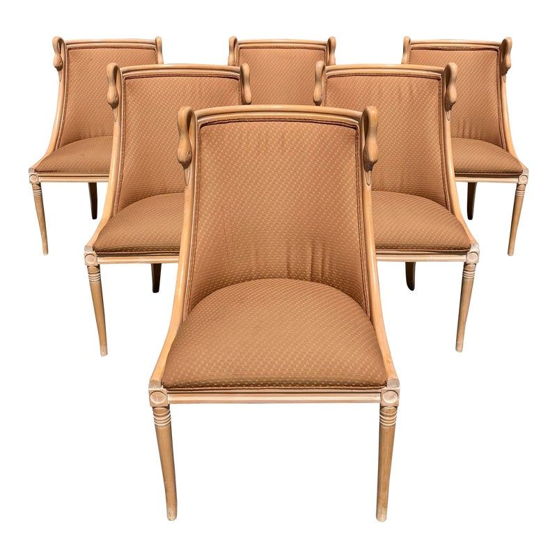Mid Century Modern Gondola Swan Neck Dining Chairs Set Of 6