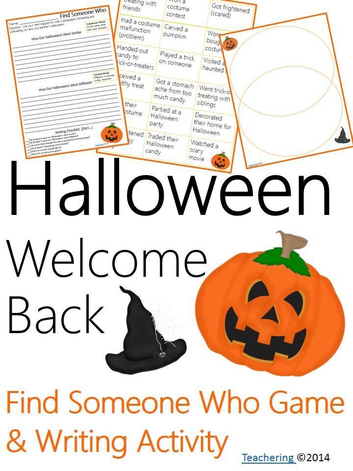 Welcome Back From Halloween No Prep Ela Activities School