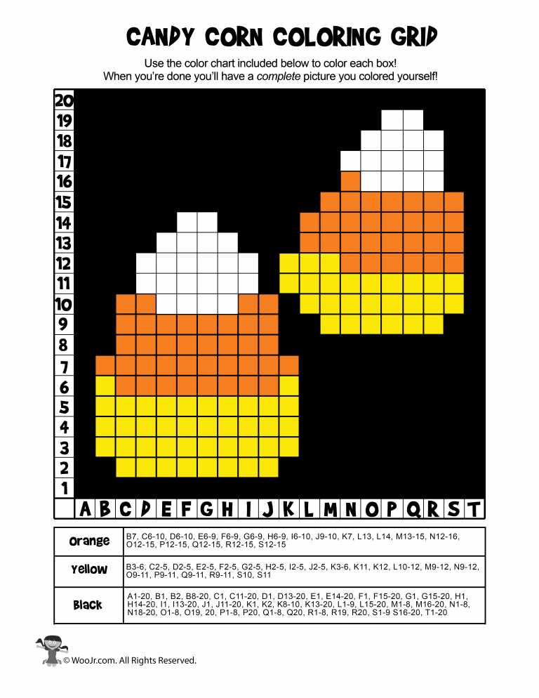 Candy Corn Grid Coloring Page Answers Woo Jr Kids Activities Halloween Mystery Pictures Coloring Pages Activities For Kids