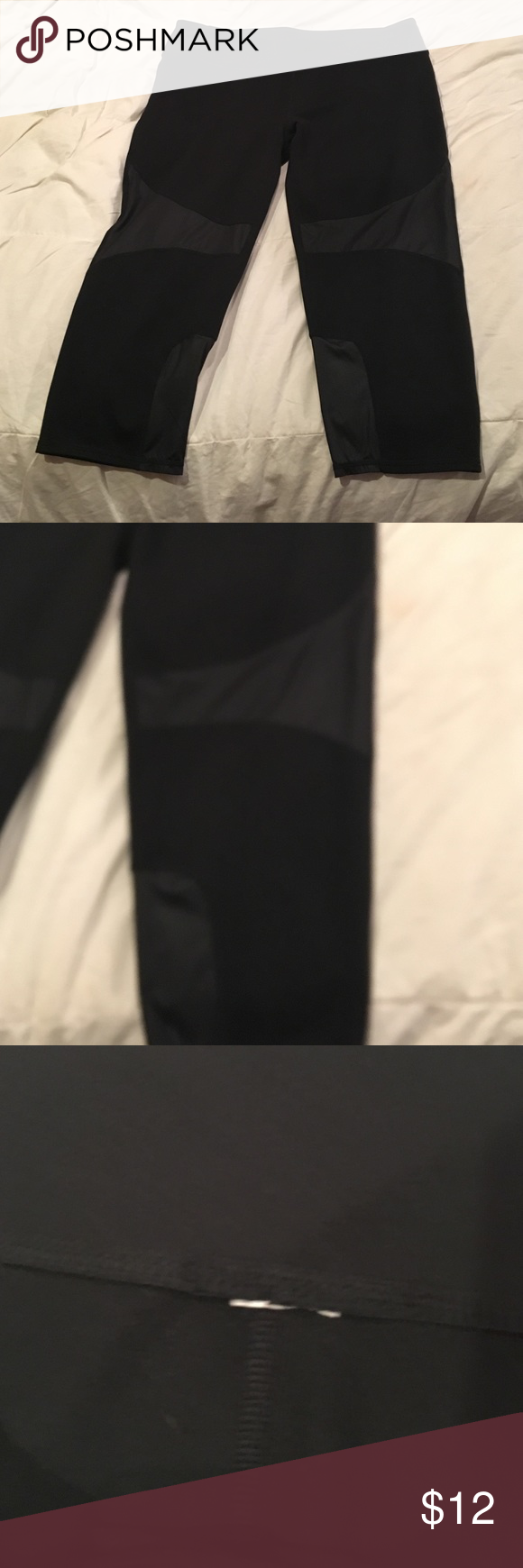 Fabletics Capri Black Capri with sheer accent at thigh and calf. Tag at waist has been removed because it rubbed. Worn once. Washed. Fabletics Pants Capris