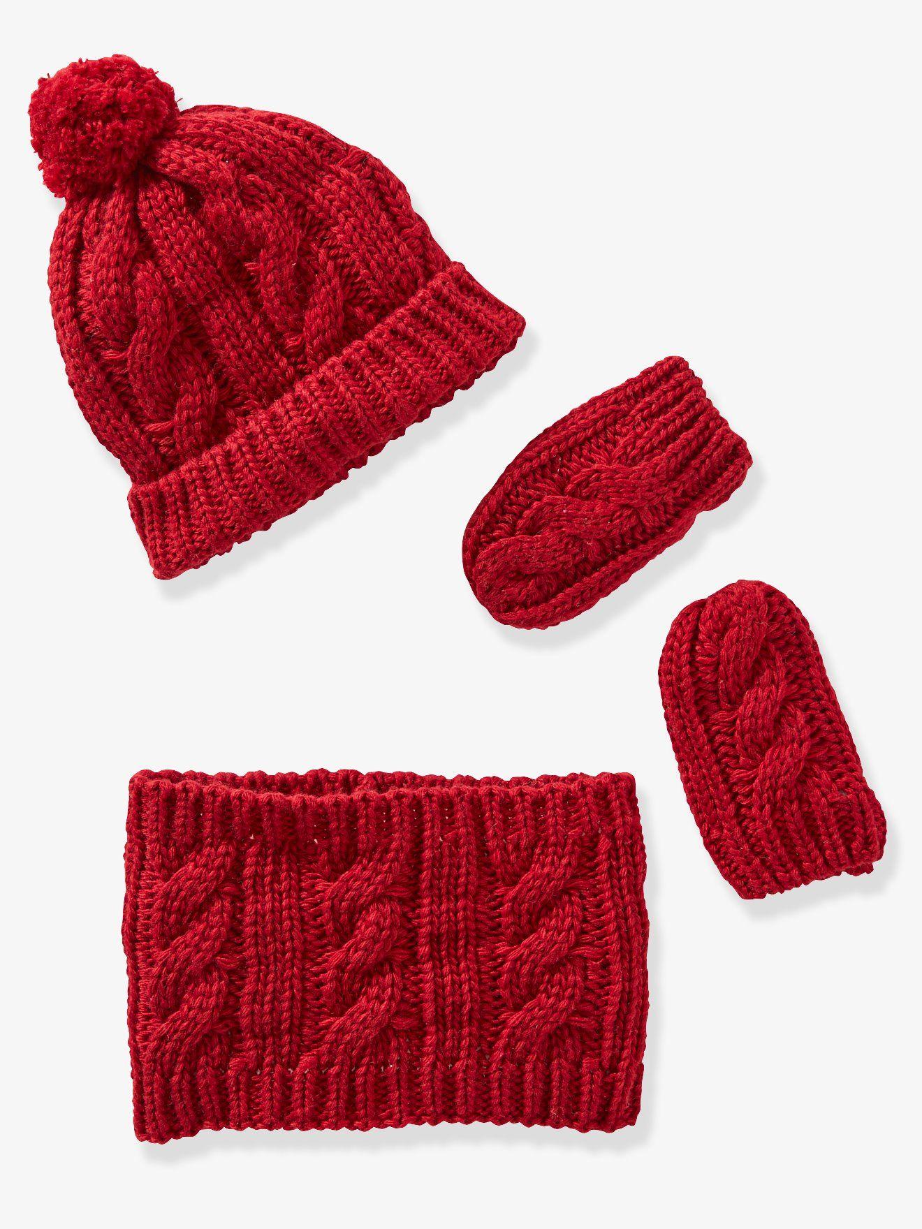 0e6060bddd31 Ensemble bonnet, snood et moufles en tricot bébé framboise - Dans la  famille douceur,