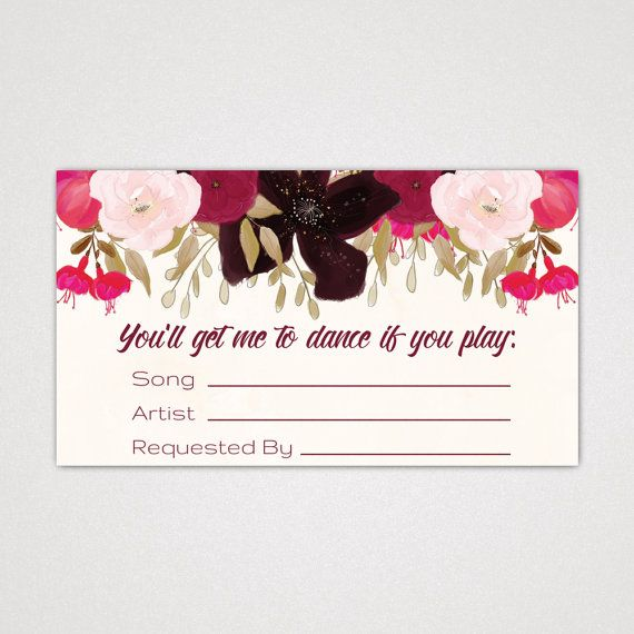 Wedding Song Request Card With A Boho Floral Design: A