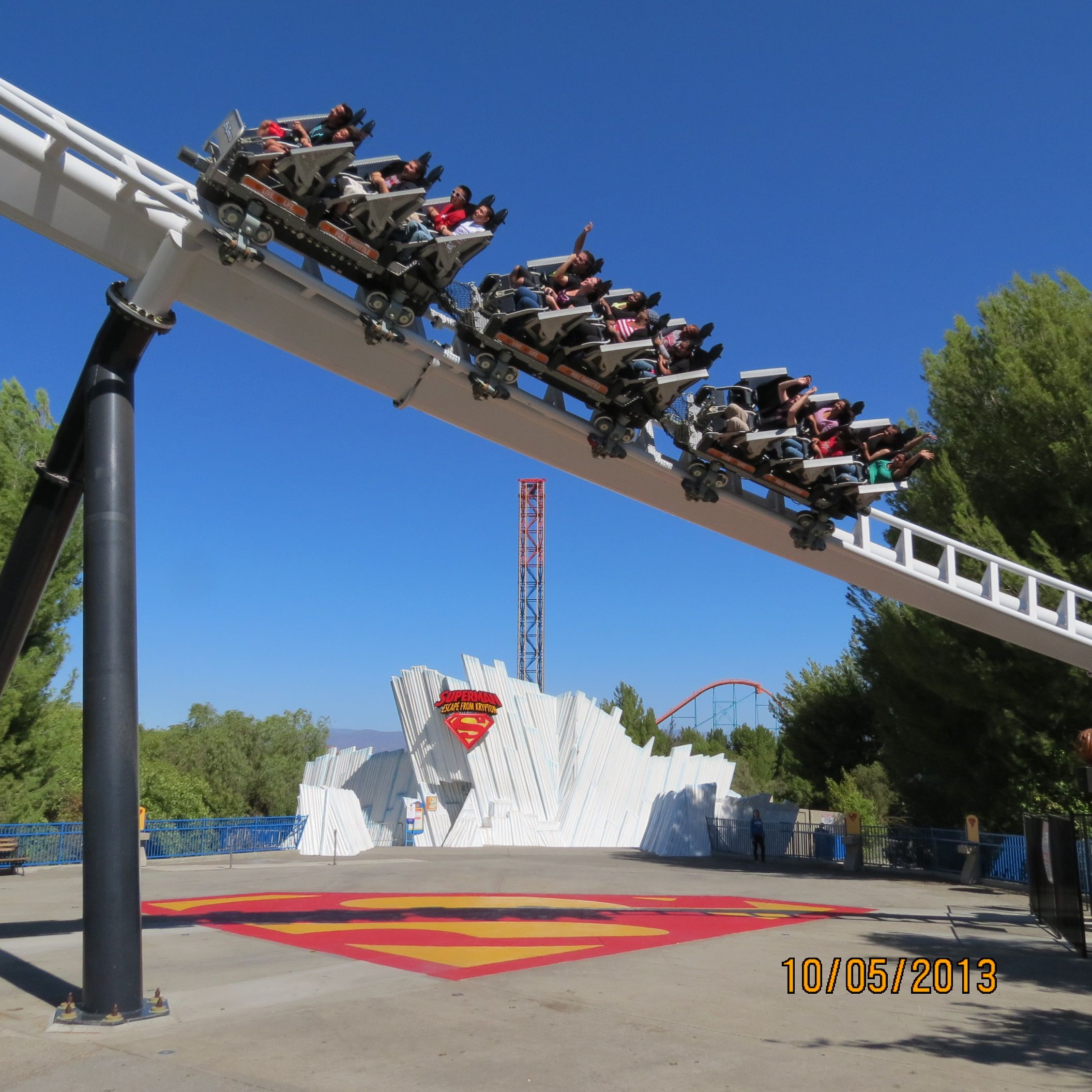 Six Flags Magic Mountain Valencia California Full Throttle Top Superman In The Background Family Vacation Roller Coaster Theme Park