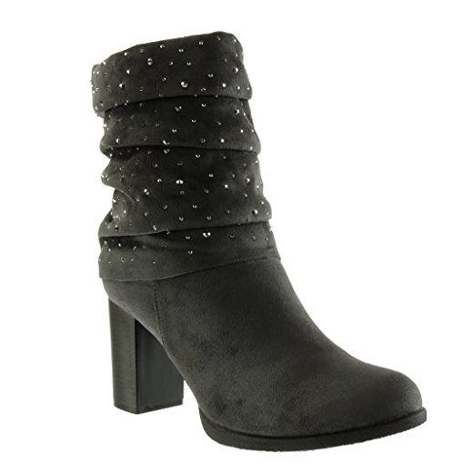 Angkorly - damen Schuhe Stiefeletten - Flexible - Classic - Strass Blockabsatz  high heel 8 CM