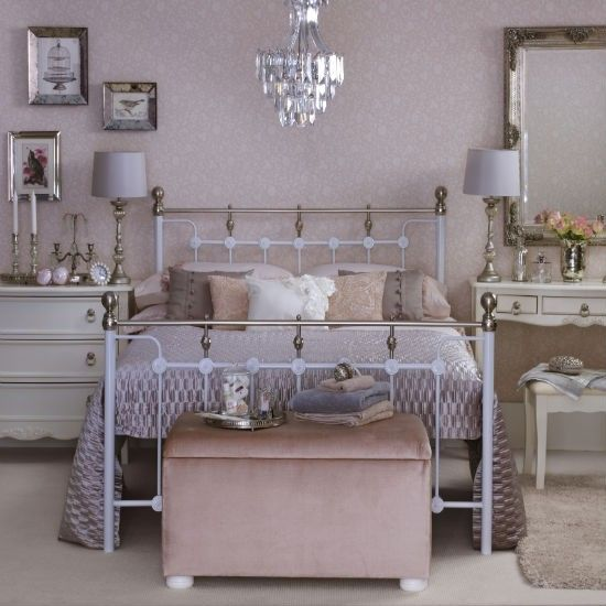 metal double bed vintage style pink bedroom