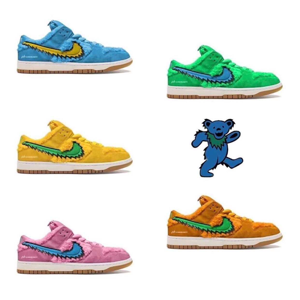 The Greatful Dead Bears X Nike Sb Dunk Red Nike Shoes Sneakers Fashion Jordan Shoes Girls