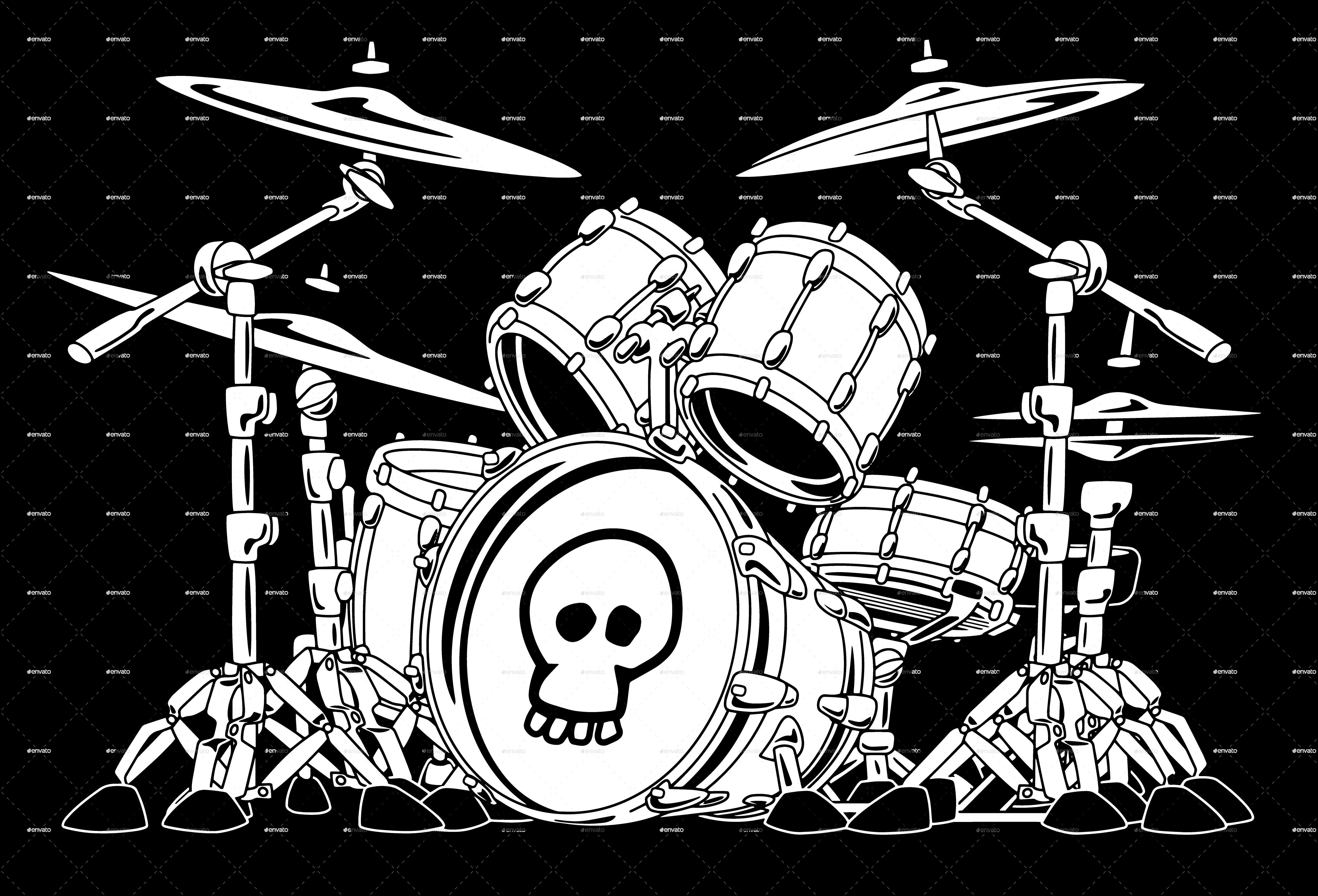 Rock Drum Set Cartoon Vector Illustration 드럼, 패턴, 배경