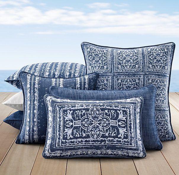 Gorgeous Blue Pillows For Your Patio   Perennials® Corsica Outdoor Pillow  Covers   Royal Blue