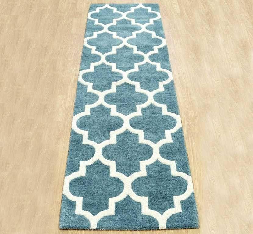 arabesque light teal hall runner rugs modern rugs - Modern Runners