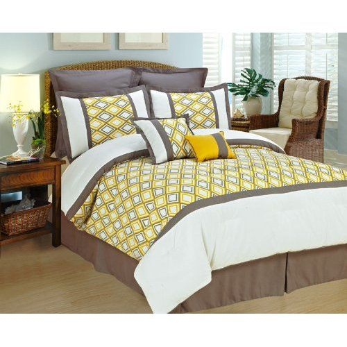Amazon.com: 8 PC MODERN Diamond Motif COMFORTER SET Yellow White Gray BED IN A BAG - Queen Size Bedding W/ Euro Shams: Home & Kitchen