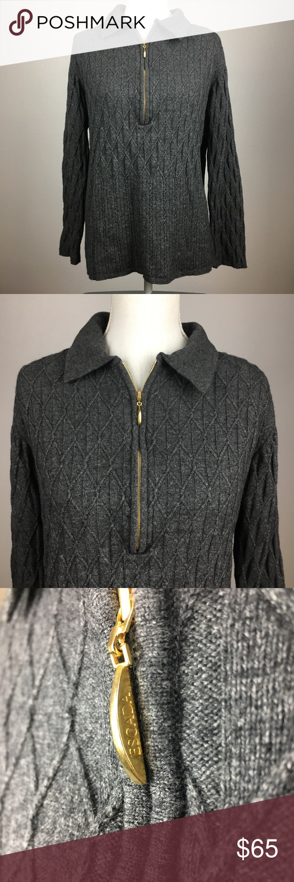 Escada Knit Collared Sweater Excellent condition Escada Knit sweater with  collar and half zip. Size 44 (large). Color  dark gray. Wool  cashmere   silk blend ... 3238593ef