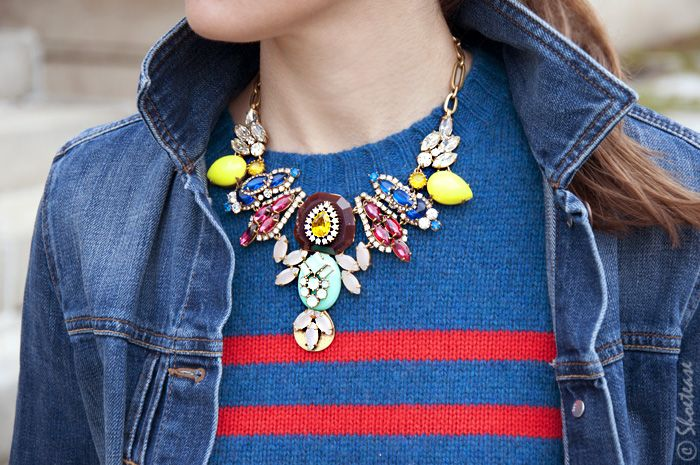 Street Style – Double Denim & Bright Stripes: J.Crew necklace & sweater. Gap denim jacket