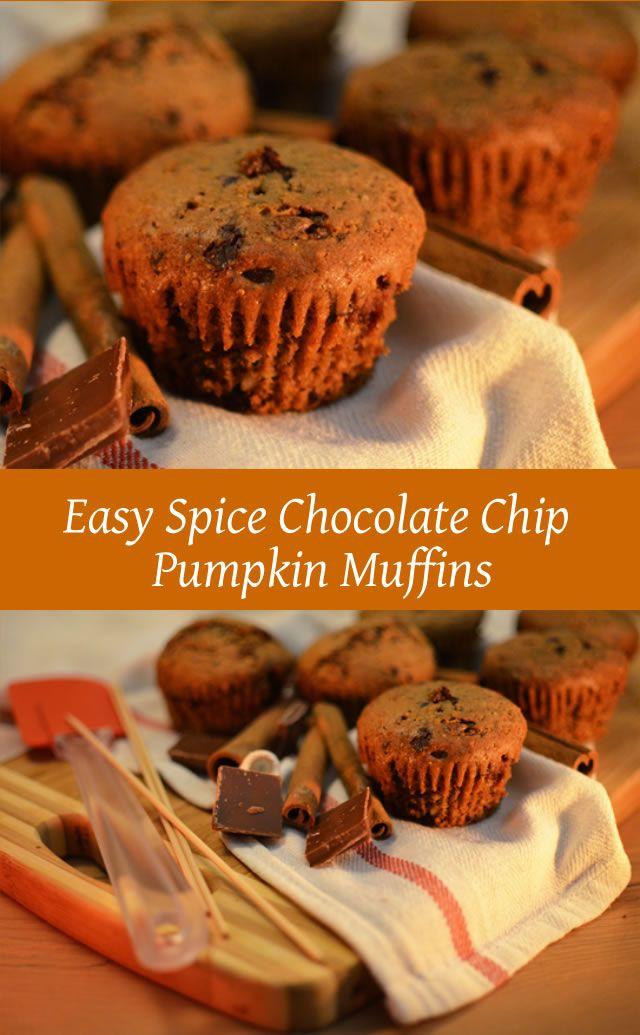 EASY SPICE CHOCOLATE CHIP PUMPKIN MUFFINS