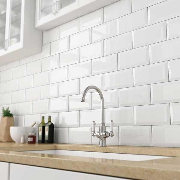 bevelled white gloss subway tile