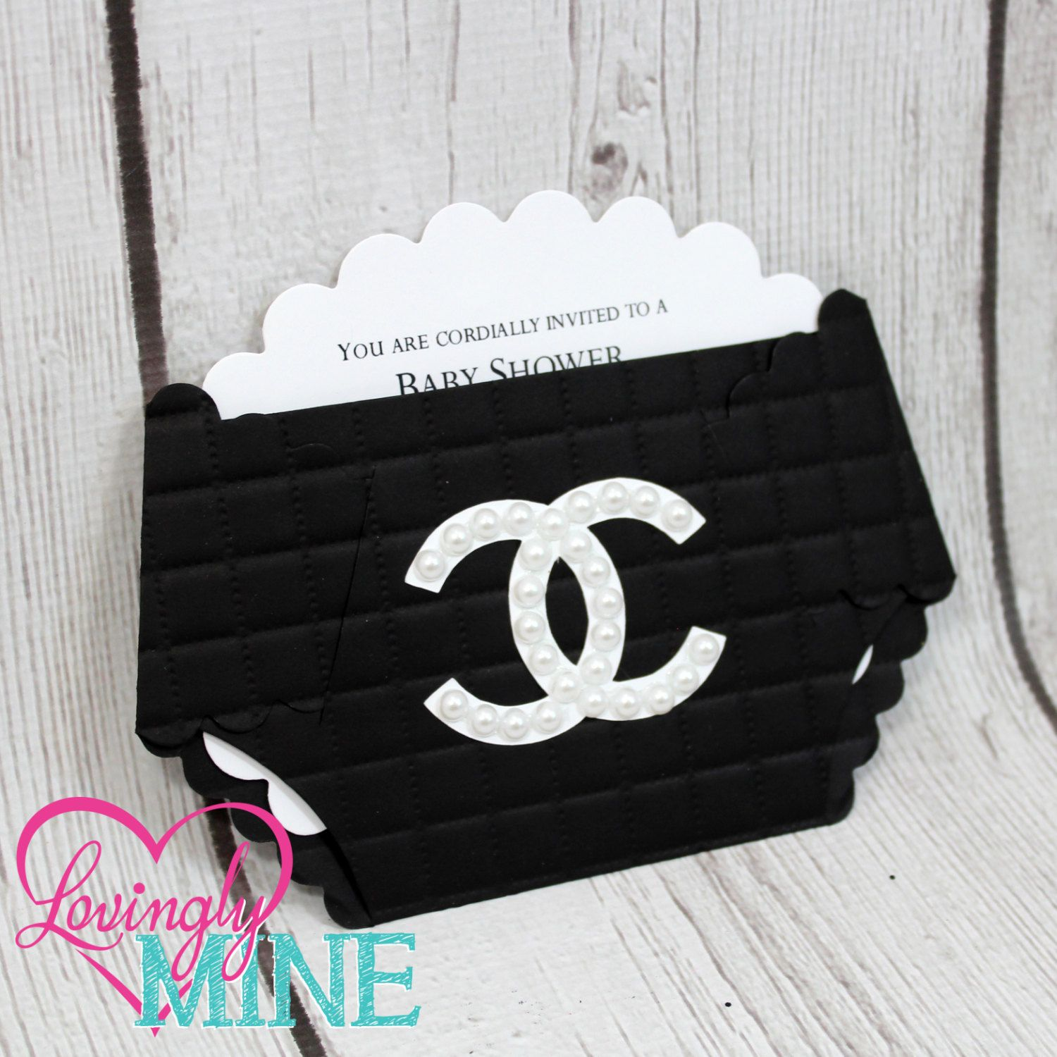 Coco Chanel Baby Shower Invitations Diaper Shape in Tuft Black and ...