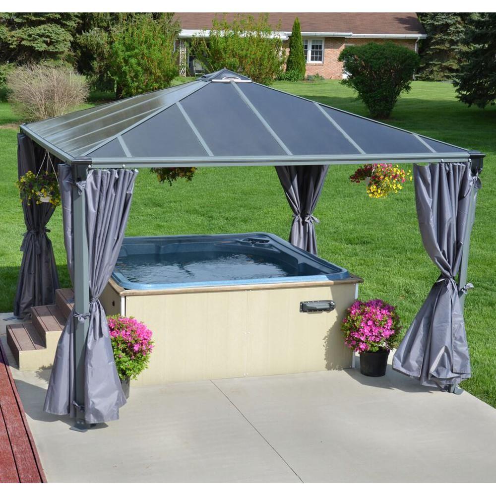 rideaux pour tonnelle de jardin en alu et polycarbonate lot de 4 agencement jardin bassin. Black Bedroom Furniture Sets. Home Design Ideas