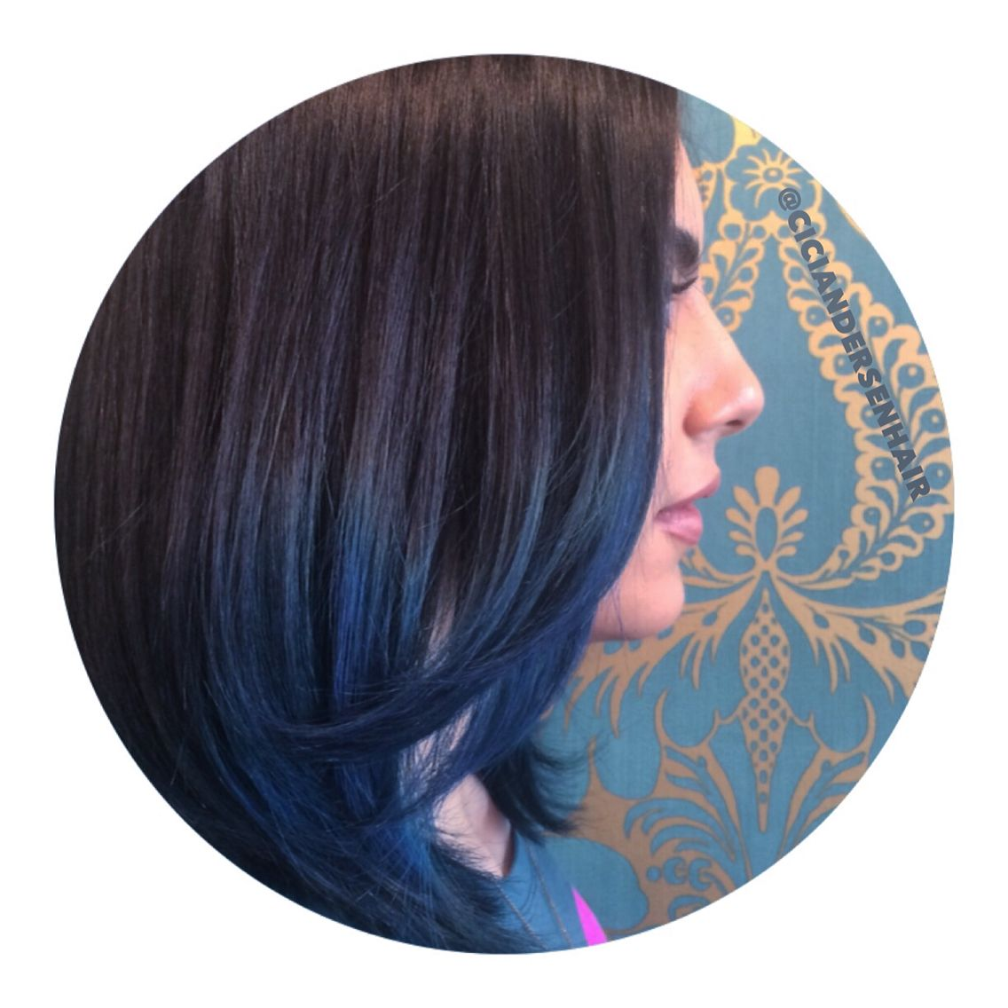 Nicole Richie Inspired Sapphire Dark Blue Hair Balayaged In To A