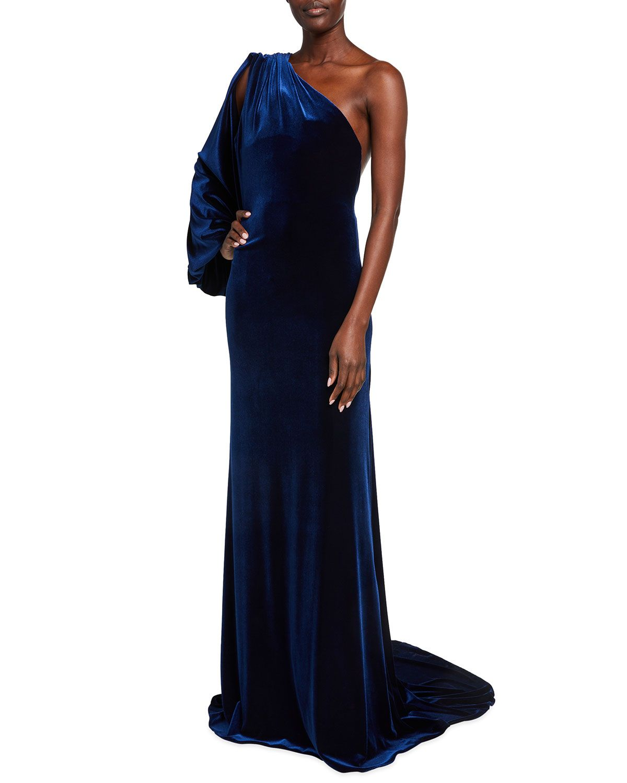 Monique Lhuillier Velvet One-Sleeve Gown | Neiman Marcus