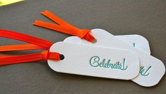 Celebrate Letterpress Gift Tag Set of 3 by greengrasspress on Etsy