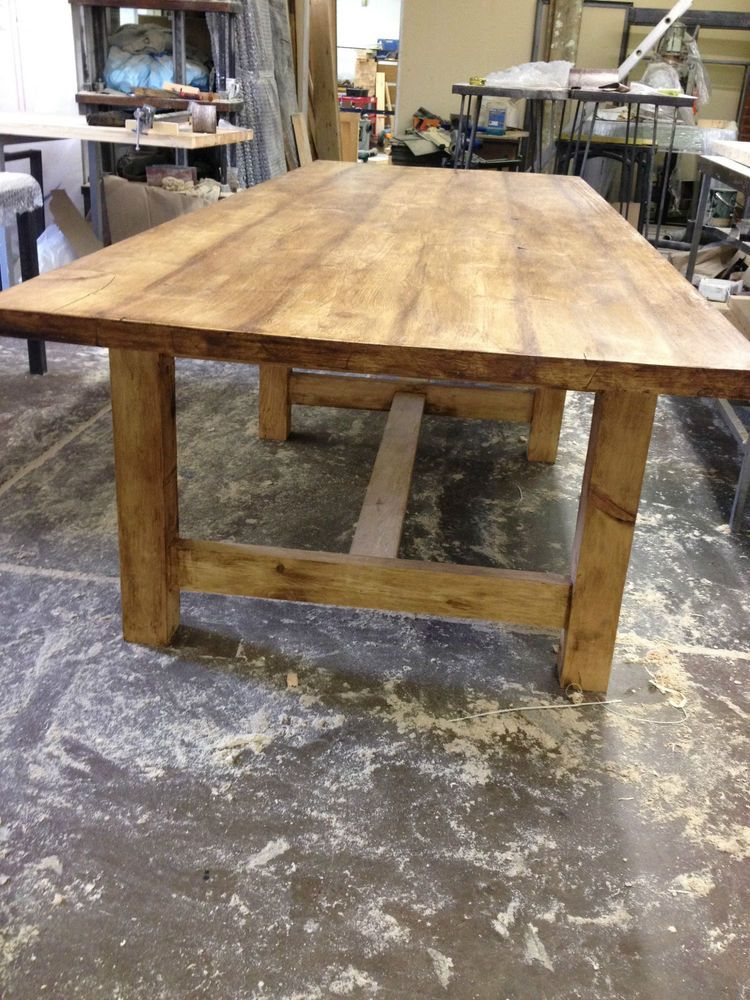 Traditional country farmhouse rustic table old wood for Country style dining table