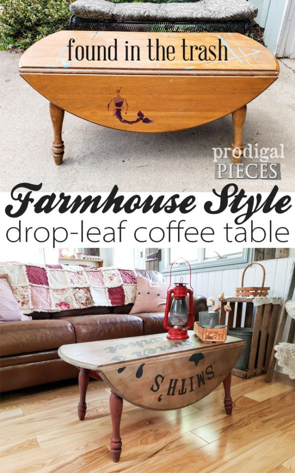 Farmhouse DropLeaf Coffee Table with Typography