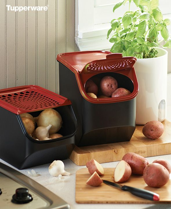 Potato And Onion Garlic Smart Smart Features Like Opaque Material And Vented Seal Panel Extend The Life Of Tupperware Tupperware Recipes Tupperware Storage