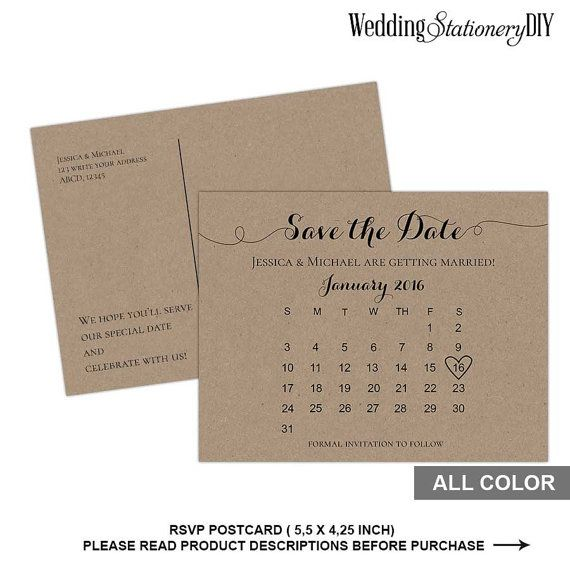 November 2016 Save the date postcard template Wedding save the - postcard template word
