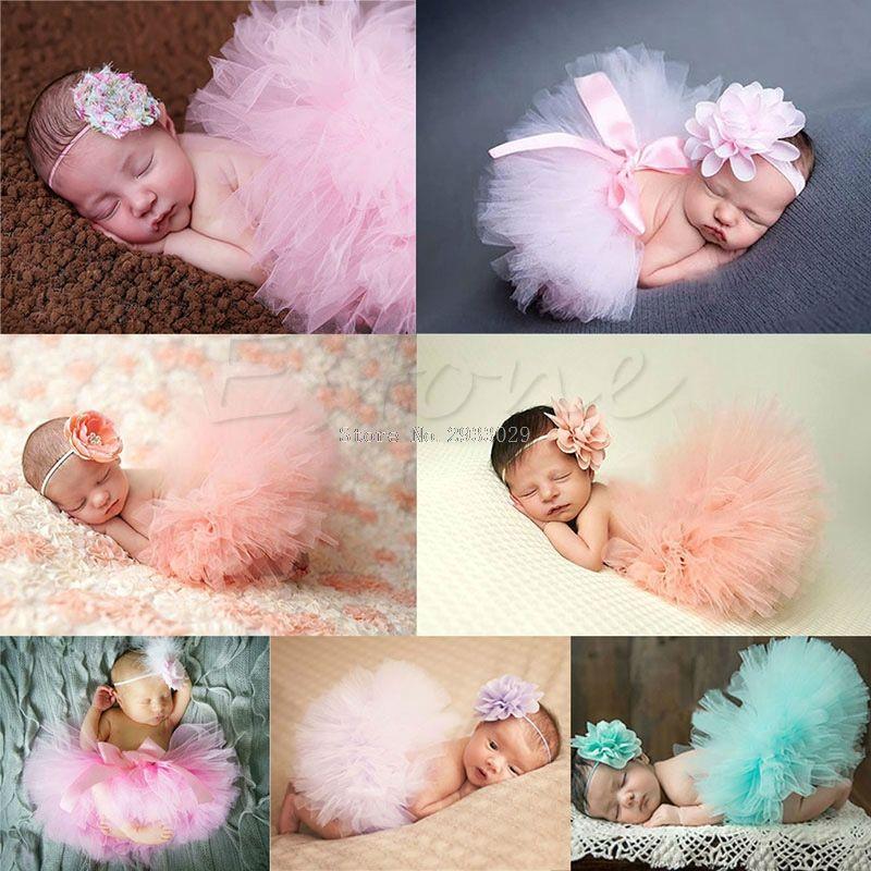 Cute Toddler Newborn Baby Girl Photo Prop Costume Outfit Tutu Skirt /& Headband