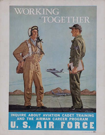 Vintage Us Air Force Recruiting Poster Working Together Usaf