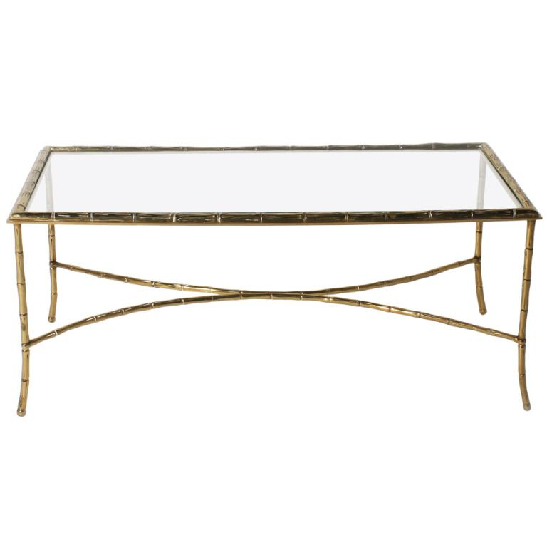 Bagues Bronze Faux Bamboo Coffee Table With Glass Top C 1950