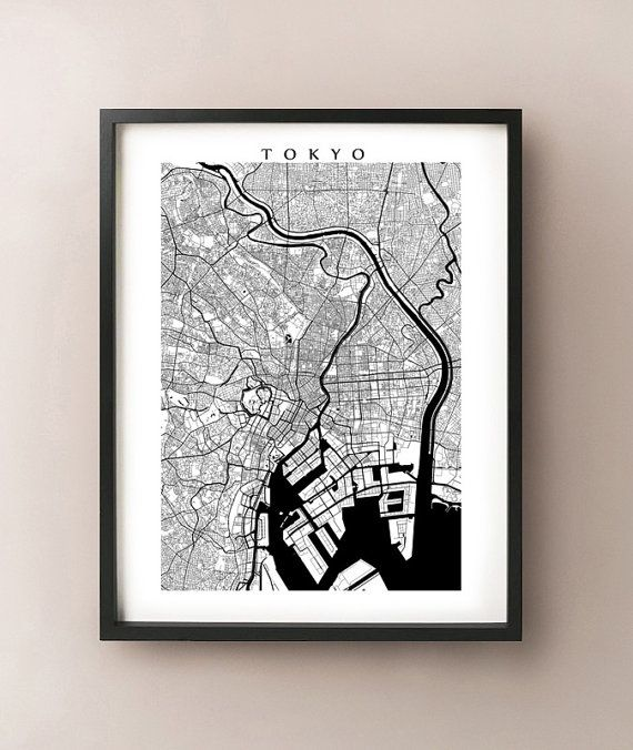 Tokyo Map Print  Black and White by CartoCreative on Etsy, $20.00