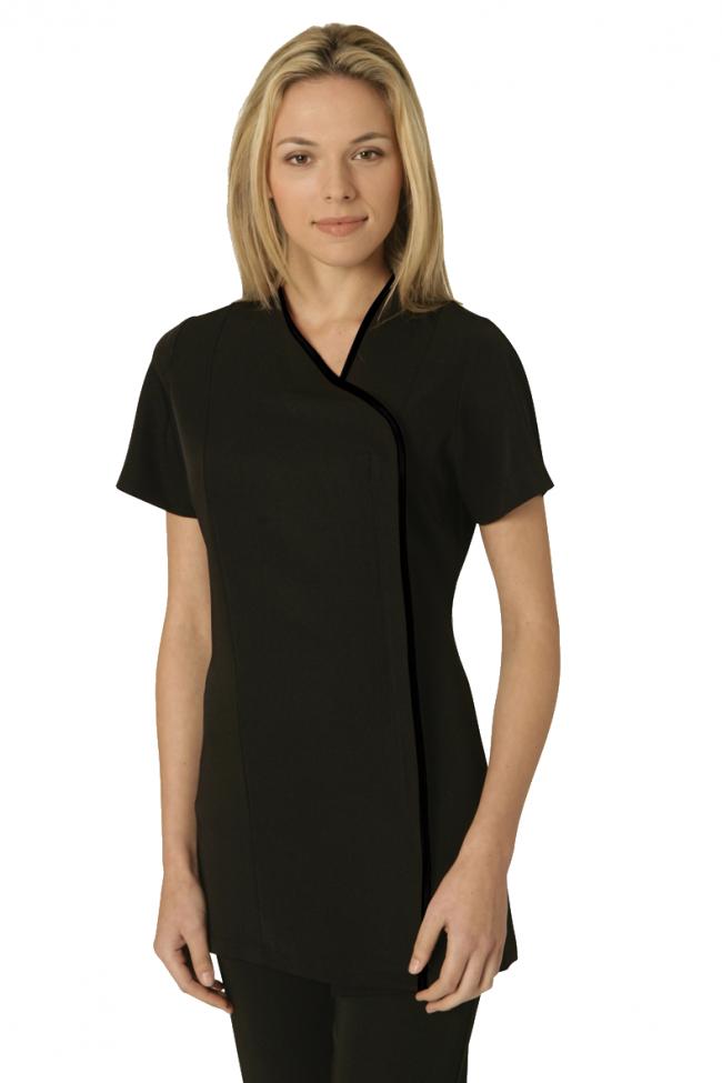 b372a2f4afc Salonwear Charm Tunic BLACK with BLACK trim Embroidered Workwear,  Healthcare Uniforms, Salon Uniform,