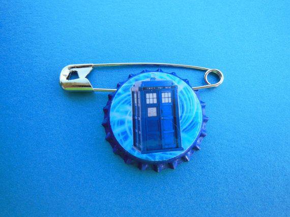 Blue Tardis Bottle Cap Pin