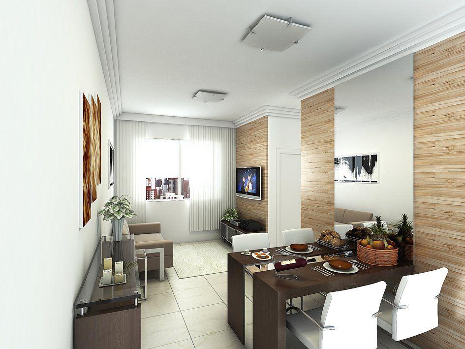 Mesa saindo da parede espelho alinhado sala de jantar for Salas de apartamentos modernos