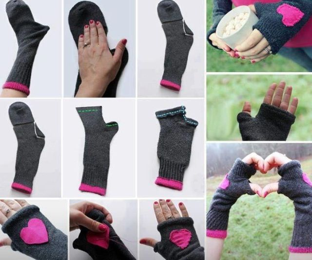 DIY Hand warmers from socks! (Just a picture, no link)