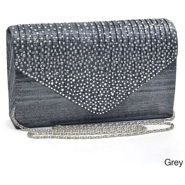 Dasein Rhinestone Frosted Evening Clutch Purse ($28) ❤ liked on Polyvore featuring bags, handbags, clutches, black, cell phone purse, rhinestone purses, cocktail purse, rhinestone studded handbags and envelope clutch bag