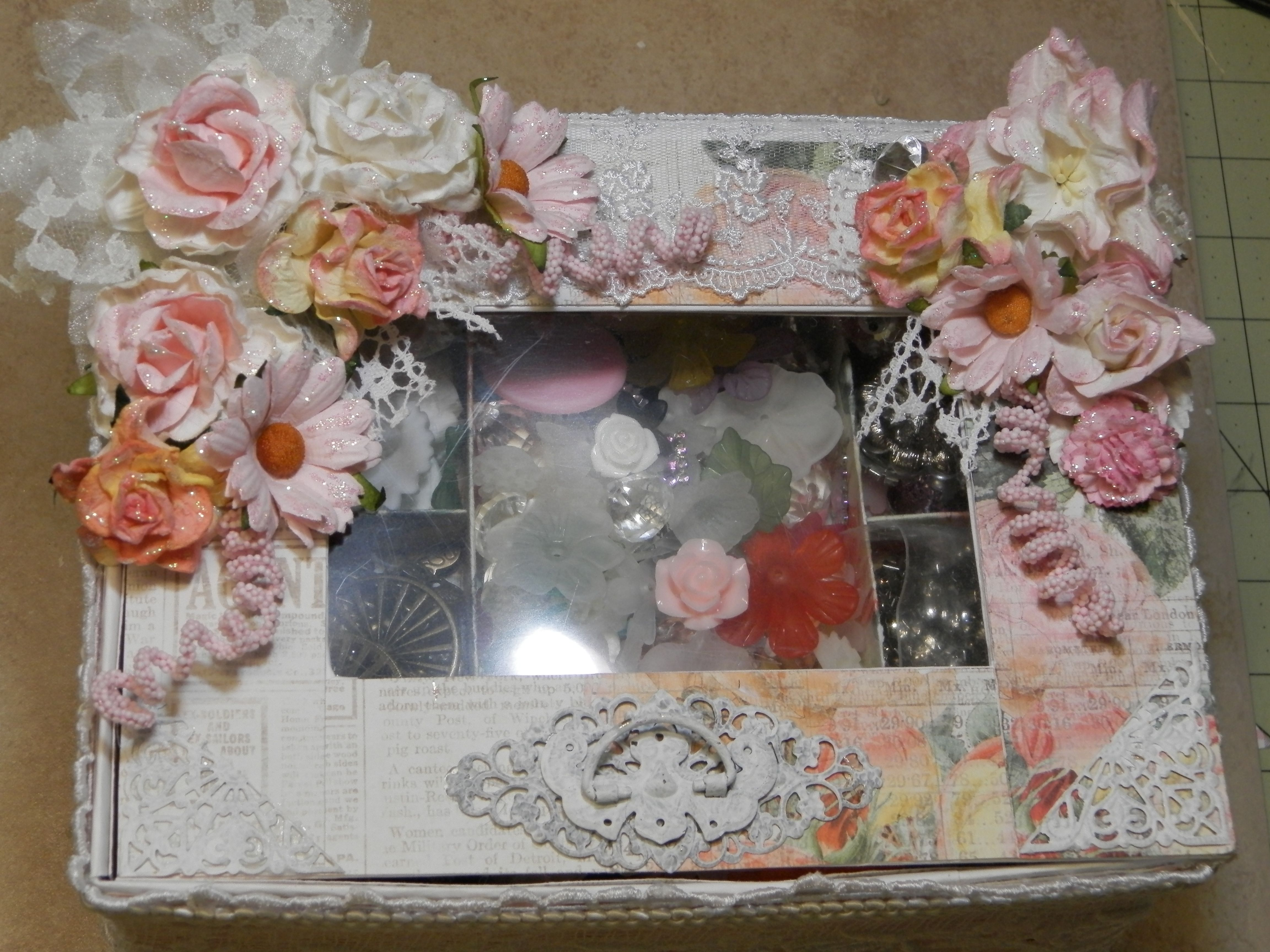 Shabby Chic Handmade Jewelry Box with removable tray