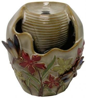 Amazon.com : Ceramic Tabletop Fountain Bird And Flowers : Tabletop Garden  Fountains : Patio