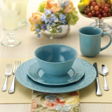 Paula Deen Whitaker Blue Dinnerware Set Of 16