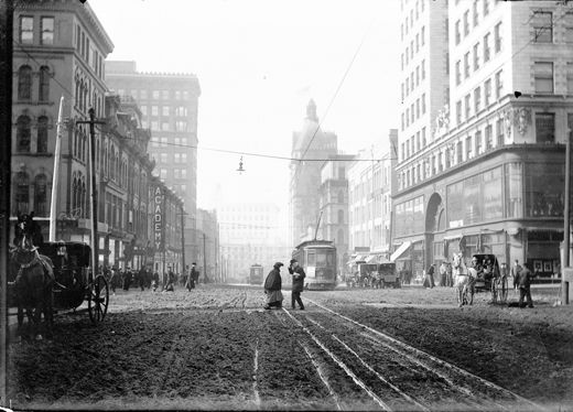 Muddy Street in Milwaukee, 1901. Looking west on Grand Ave. (Wisconsin Ave.) Photo by J. Robert Taylor. Wisconsin Historical Society