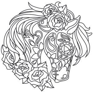Beautiful Dia De Los Muertos Decoration Adorns This Horse Skull Design Downloads As A PDF Unicorn Colouring PagesHorse