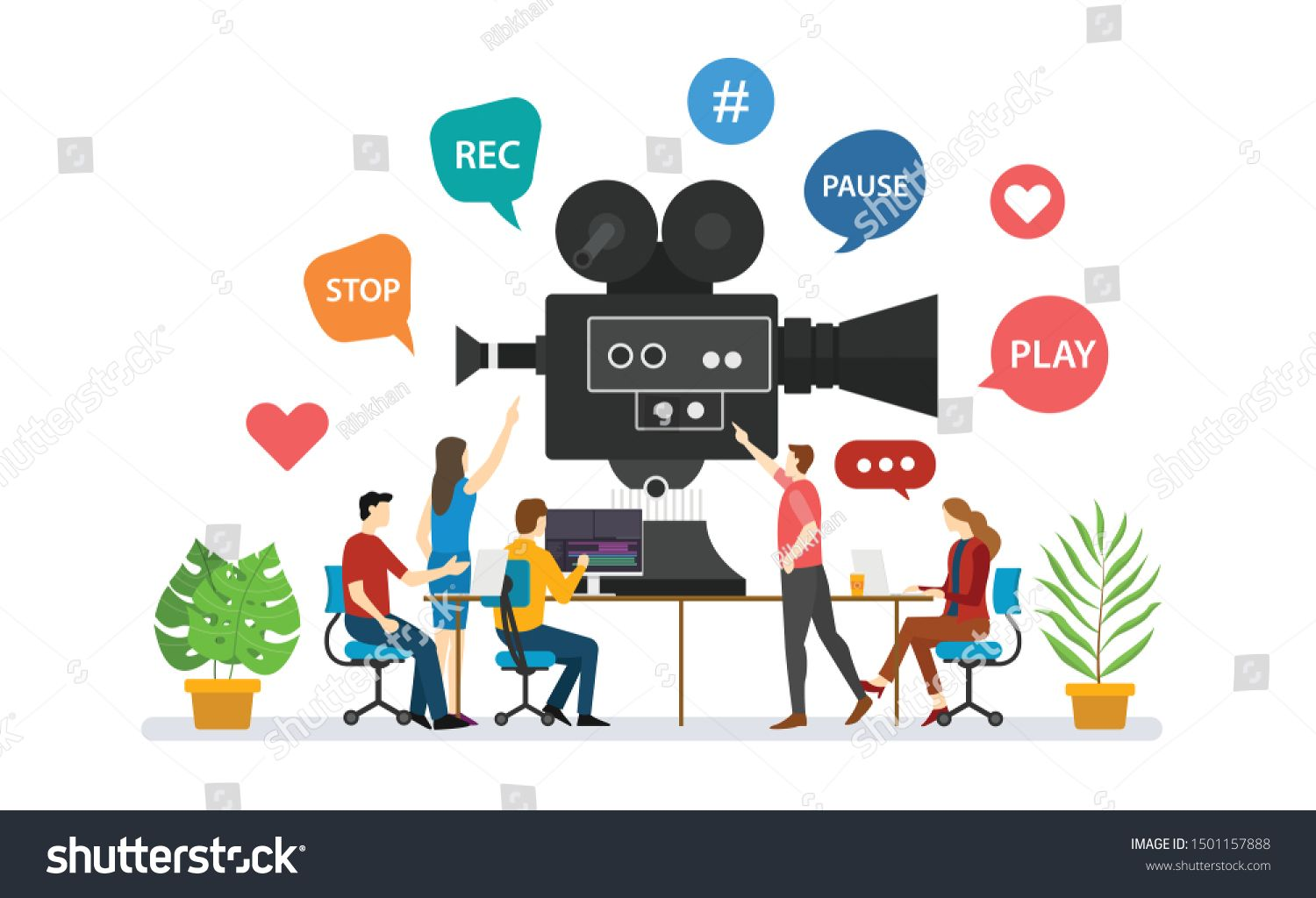 Team Video Production For Film Making With People Discussion Together With Modern Flat Style Vector Ad Affiliate Film Video Team Filmmaking The A Team