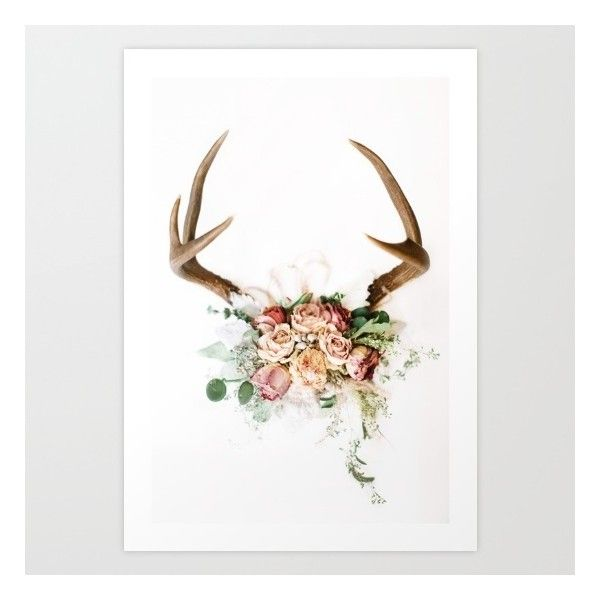 Floral Antlers V Art Print ($20) ❤ Liked On Polyvore Featuring Home, Home
