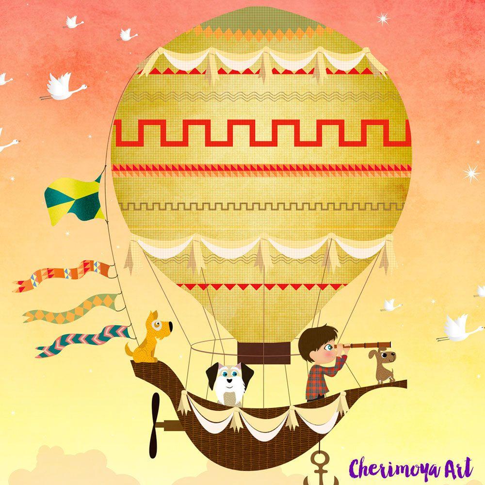 Hot Air Balloon Children\'s Wall Art Boys Room Art by CherimoyaArt ...