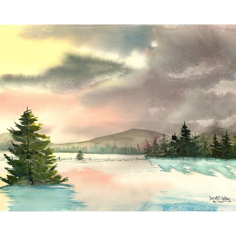 Snow painting watercolor landscape PRINT winter by derekcollins