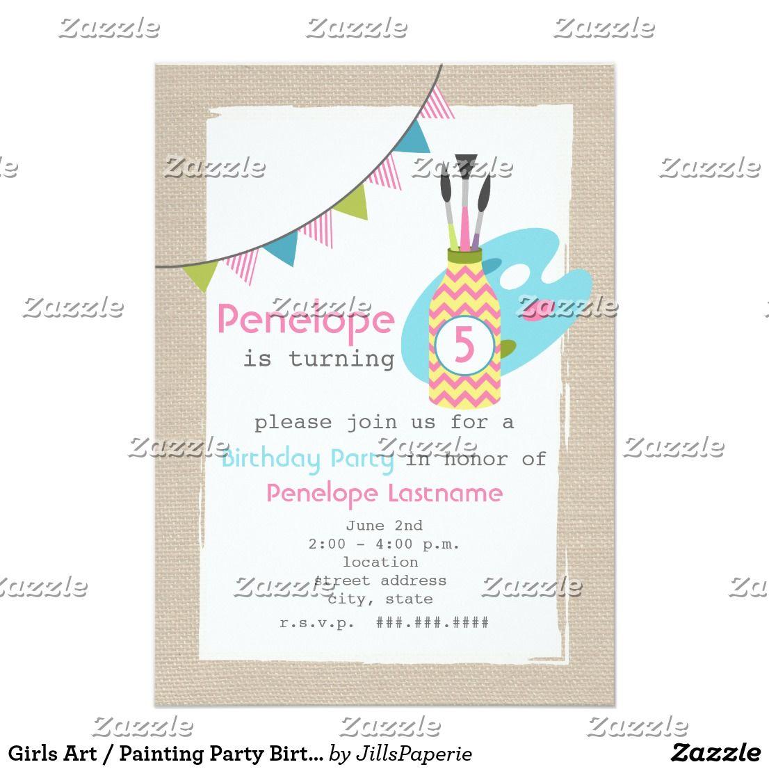 Girls Art / Painting Party Birthday Invitation | Birthdays