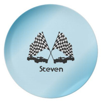 Race Cars and Checker Flag Sports Dinner Plate  sc 1 st  Pinterest & Race Cars and Checker Flag Sports Dinner Plate | Checkered flag